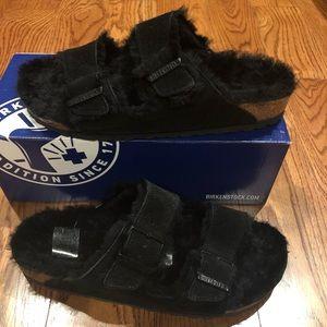 Birkenstock Arizona Fur Black Size 10 Narrow new